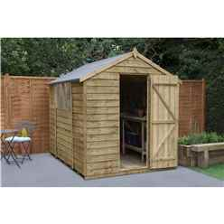 INSTALLED 8ft x 6ft Pressure Treated Overlap Apex Wooden Garden Shed -  Single Door (2.4m x 1.9m) - Modular - INCLUDES INSTALLATION - CORE