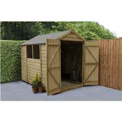 INSTALLED 8ft x 6ft Pressure Treated Overlap Apex Wooden Garden Shed - Double Doors (2.4m x 1.9m) - Modular - INCLUDES INSTALLATION