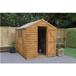 INSTALLED 8ft x 6ft Overlap Apex Wooden Garden Shed With Single Door + 2 Windows (2.4m x 1.9m) - INCLUDES INSTALLATION - CORE
