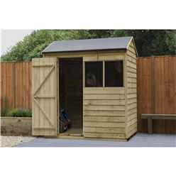 6ft x 4ft Pressure Treated Apex Reverse Overlap Shed (1.8m x 1.3m) - Modular - CORE