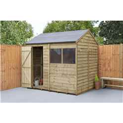 INSTALLED 6ft x 8ft Pressure Treated Apex Reverse Overlap Shed (2.4m x 1.9m) - Modular - INCLUDES INSTALLATION - CORE
