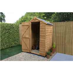 INSTALLED 4ft x 3ft Overlap Apex Garden Shed  (1.3m x 0.9m) - Modular - INCLUDES INSTALLATION