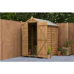INSTALLED 6ft x 4ft Security Overlap Apex Garden Shed (1.8m x 1.3m) - Modular - Windowless - Single Door - INCLUDES INSTALLATION - CORE