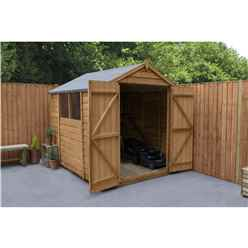 INSTALLED 8ft x 6ft Overlap Apex Wooden Garden Shed With Double Door + 2 Windows (2.4m x 1.9m) - INCLUDES INSTALLATION