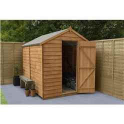 INSTALLED 8ft x 6ft Overlap Apex Windowless Wooden Garden Shed With Single Door (2.4m x 1.9m) - INCLUDES INSTALLATION