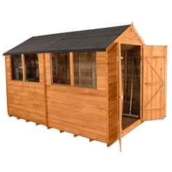 INSTALLED 10ft x 6ft Overlap Apex Garden Shed With Double Doors + 4 Windows (3.1m x 1.9m) - INCLUDES INSTALLATION