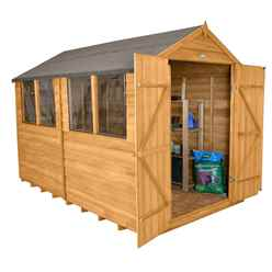 INSTALLED 10ft x 8ft Overlap Apex Garden Shed With Double Doors + 4 Windows (3.1m x 2.6m) - INCLUDES INSTALLATION