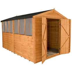 INSTALLED 12ft x 8ft Overlap Apex Wooden Garden Shed With Double Doors + 6 Windows (3.7m x 2.6m) - INCLUDES INSTALLATION