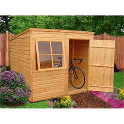 8 x 6 (1.83m x 2.39m) - Tongue And Groove - Pent Garden Shed - 1 Opening Window - Single Door - 10mm Solid OSB Floor