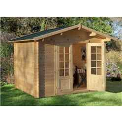 2.2m x 2.2m Log Cabin With Double Doors - 28mm Wall Thickness - INSTALLED **Includes Free Shingles**