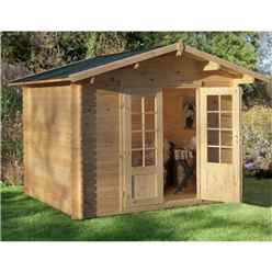 3.0m X 2.5m Log Cabin With Double Doors - 28mm Wall Thickness **includes Free Shingles**