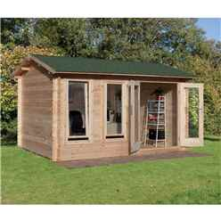 4.0m x 3.0m Reverse Log Cabin With Double Doors - 34mm Wall Thickness **Includes Free Shingles**