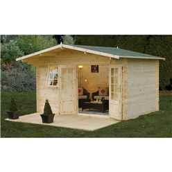 INSTALLED 4.0m x 3.0m Classic Apex Log Cabin With Double Doors - 34mm Wall Thickness **Includes Free Shingles** - INCLUDES INSTALLATION