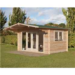 INSTALLED 4.0m x 3.0m Contemporary Apex Log Cabin With Double Doors - 34mm Wall Thickness **Includes Free Shingles** INCLUDES INSTALLATION