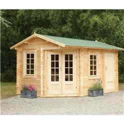 4.0m x 2.8m Corner Log Cabin With Glazed Double Doors (RIGHT) - 34mm Wall Thickness **Includes Free Shingles**