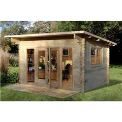 4.0m x 3.0m Stylish Pent Log Cabin With Glazed Double Doors - 44mm Wall Thickness **Includes Free Shingles**