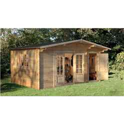 INSTALLED 4.5m x 3.5m Leisure Log Cabin With Glazed Double Doors - 34mm Wall Thickness **Includes Free Shingles** INSTALLATION INCLUDED