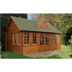 INSTALLED 5.5m x 4.0m Reverse Log Cabin + 8 Windows - 44mm Wall Thickness **Includes Free Shingles** INCLUDES INSTALLATION