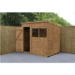 8 x 6 Dip Treated Overlap Pent Shed - Assembled