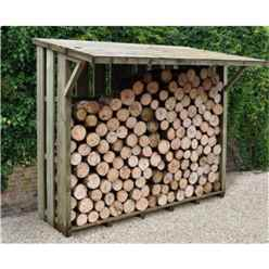 7ft x 3.8ft Large Pressure Treated Log Store - With Folding Roof (2.2m x 1.7m)