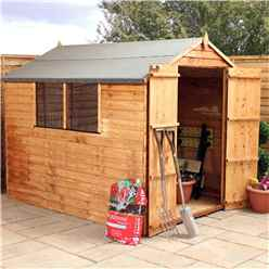 Installed - 8 X 6 Overlap Value Apex Wooden Garden Shed With 2 Windows And Double Doors (10mm Solid Osb Floor) - Includes Installation