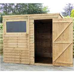 Installed -  8 X 6 Value Wooden Overlap Pent Garden Shed With 1 Window And Single Door (solid 10mm Osb Floor) - Includes Installation