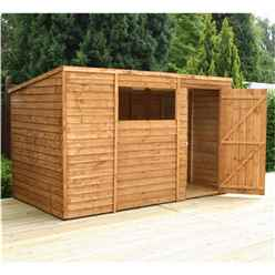 Installed - 10 x 6 Value Wooden Overlap Pent Garden Shed With 1 Window And Single Door (10mm Solid Osb Floor) - Includes Installation