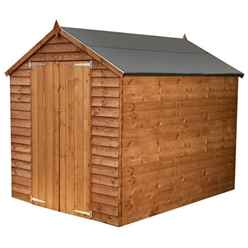 Installed - 8 X 6 Windowless Value Overlap Apex Wooden Shed With Double Doors (solid 10mm Osb Floor) - Includes Installation