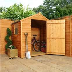 INSTALLED 3 x 6 Value Wooden Overlap Apex Shed With 1 Window And Single Door (10mm Solid OSB Floor) - INCLUDES INSTALLATION