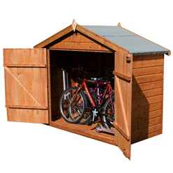 INSTALLED Bike Store 7 x 3 Premier Tongue and Groove Wooden Garden Store with Double Doors (10mm Solid OSB Floor) - INCLUDES INSTALLATION
