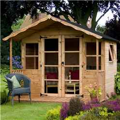 INSTALLED 8 x 8 Premier Wooden Garden Summerhouse (12mm Tongue and Groove Floor and Roof) - INCLUDES INSTALLATION