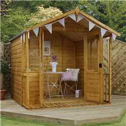 Installed 7 x 7 Premier Wooden Garden Summerhouse (1/2 Styrene Glazed Doors) (10mm Solid OSB Floor) - Includes Installtion