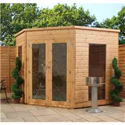 Installed 8 X 8 Premier Wooden Corner Garden Summerhouse (10mm Solid Osb Floor + Roof) - Includes Installation
