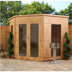 INSTALLED 8 x 8 Premier Wooden Corner Garden Summerhouse (12mm Tongue and Groove Floor and Roof) - INCLUDES INSTALLATION