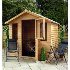 INSTALLED 7 x 5 Value Overlap Wooden Garden Summerhouse + Stable Door (10mm Solid OSB Floor) - INCLUDES INSTALLATION