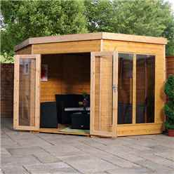 Installed 9 X 9 Premier Wooden Corner Garden Summerhouse (tongue And Groove Roof And Floor) - Includes Installation