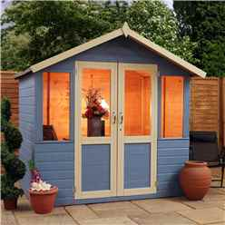 Installed 7 x 5 Premier Wooden Garden Summerhouse (1/2 Glazed Styrene Doors) (10mm Solid OSB Floor) - Includes Installation