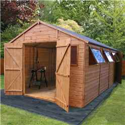 INSTALLED 20 x 10 Deluxe Tongue and Groove Wooden Garden Workshop With 5 Windows And Double Doors,** Extra Side Door ** (12mm Tongue and Groove Floor and Roof) - INCLUDES INSTALLATION