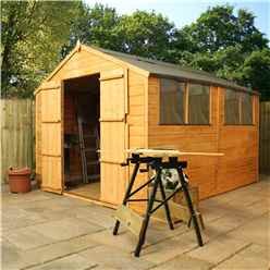 Installed 10 x 8 Tongue And Groove Wooden Apex Garden Shed With 4 Windows And Double Doors (10mm Solid OSB Floor) - Includes Installation