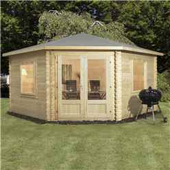 Installed 4m x 4m Premier Corner Log Cabin (Single Glazing) With Large Windows + Free Floor & Felt & Safety Glass (28mm) - Includes Installation