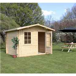 Installed 3m x 2.4m Premier Apex Log Cabin (Single Glazing) + Free Floor & Felt & Safety Glass (28mm) - Includes Installation