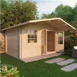 Installed 4m X 3m Premier Hideaway Log Cabin (single Glazing) + Free Floor & Felt & Safety Glass (44mm) - Includes Installation