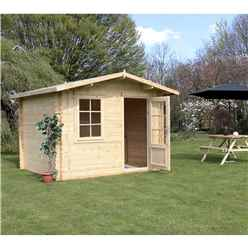 INSTALLED 3m x 2.4m Premier Apex Log Cabin (Double Glazing) + Free Floor & Felt & Safety Glass (44mm) - INCLUDES INSTALLATION