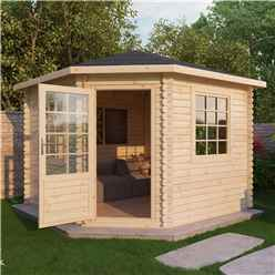 Installed 3m x 3m Premier Corner Log Cabin (Single Glazing) + Free Floor & Felt & Safety Glass (44mm) - Includes Installation