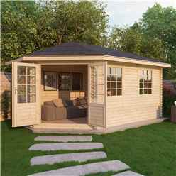 INSTALLED 5m x 3m Premier Apex GRANDE Corner Log Cabin (Single Glazing) + Free Floor & Felt & Safety Glass (44mm) - Left Door - INCLUDES INSTALLATION