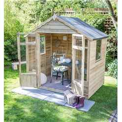 INSTALLED 7 x 5 Pressure Treated Overlap Summerhouse (219cm X 146cm) - INCLUDES INSTALLATION