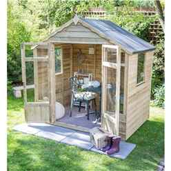 INSTALLED 7 x 7 Pressure Treated Overlap Summerhouse (219cm X 207cm) - INCLUDES INSTALLATION