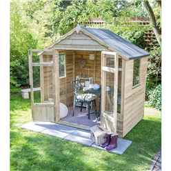 INSTALLED 8 x 6 Pressure Treated Overlap Summerhouse (258cm X 193cm) - INCLUDES INSTALLATION (CORE)