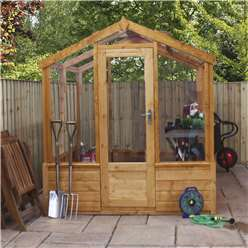 INSTALLED 6 x 4 Deluxe Glass Tongue and Groove Greenhouse (No Floor) INCLUDES INSTALLATION