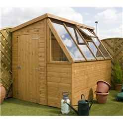 INSTALLED 8 x 6 Premier Wooden Garden Potting Shed With Single Door And * Free Potting Bench *(Door Can Be Placed Either End) + Windows INCLUDES INSTALLATION